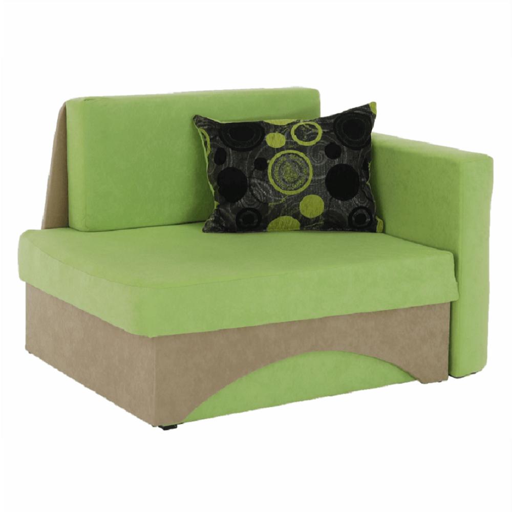 Kanapé fotel ágyfunkcióval, zöld+bézs színű, jobb oldali kivitel, KUBOS