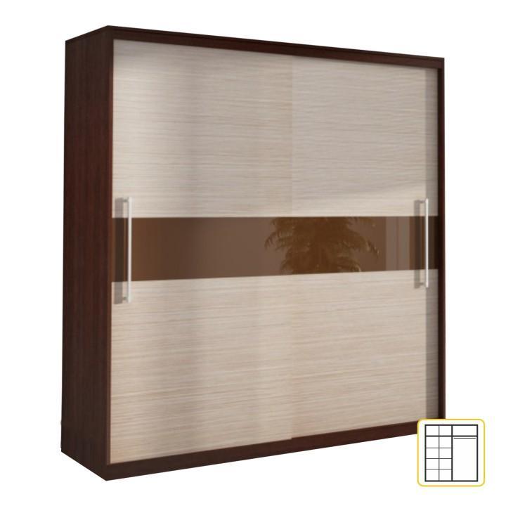 TEMPO KONDELA Skriňa s posuvnými dverami, dub tmavý/drevo kubánske, TORINO - Tempo nábytek