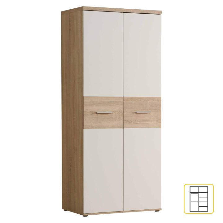 Akasztós szekrény, 2ajtós,tölgyfa/fehér, WINIE WNS92