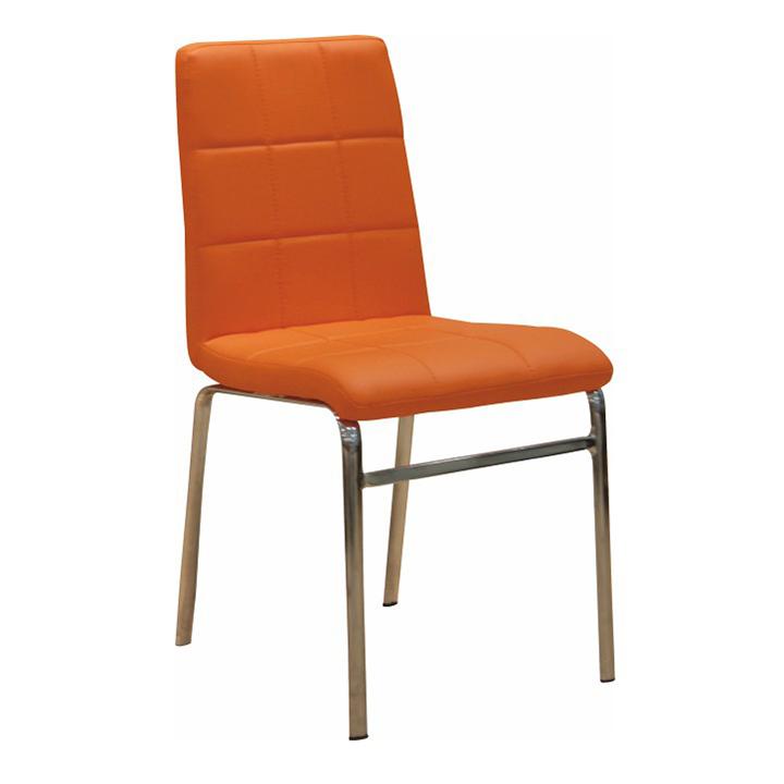 Jedálenská stolička, ekokoža oranžová/chróm, DOROTY NEW