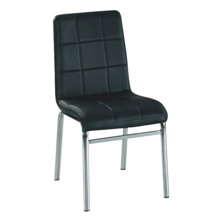 Jedálenská stolička, ekokoža čierna/chróm, DOROTY NEW
