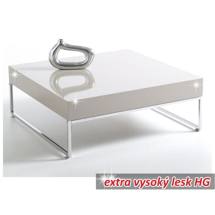 Dohányzóasztal, króm/fehér extra magas fényű HG, BOTTI