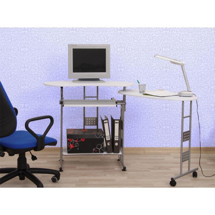 TEMPO KONDELA PC stôl, biela, strieborná, KAIL - Tempo nábytek
