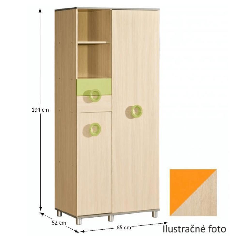 Gyerek szekrény, DTD, narancssárga, EMO N1