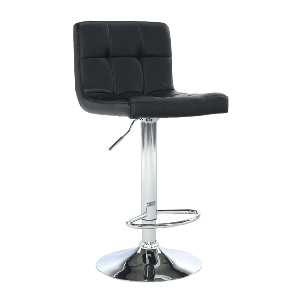 Barová stolička, čierna ekokoža/chróm, KANDY NEW