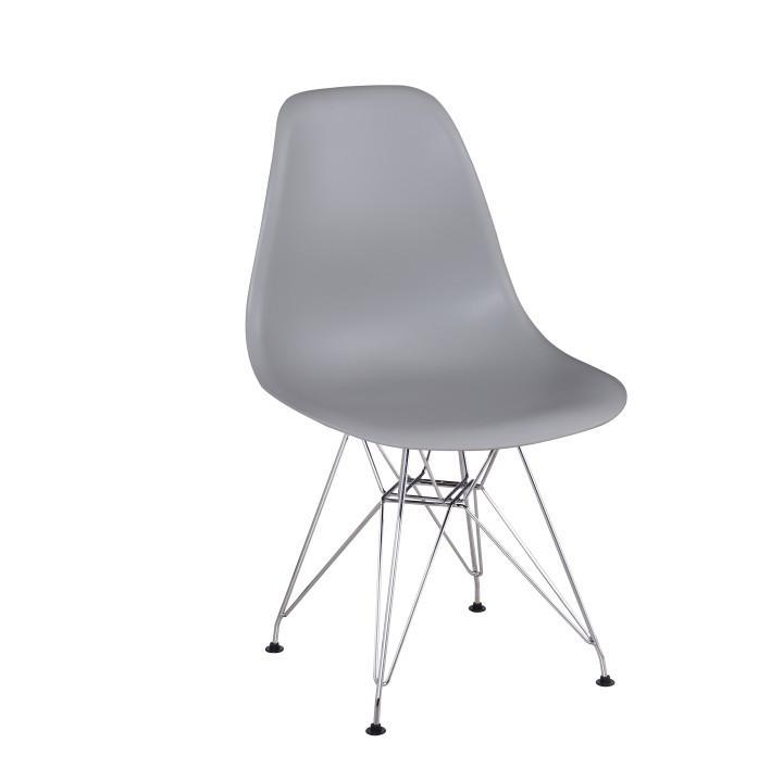 Modern szék, műanyag/szürke + króm, ANISA
