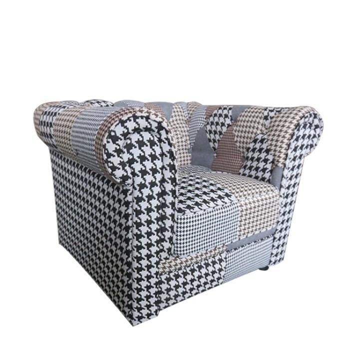 Dizájnos fotel, szövet patchwork, PEPITO TYP 2