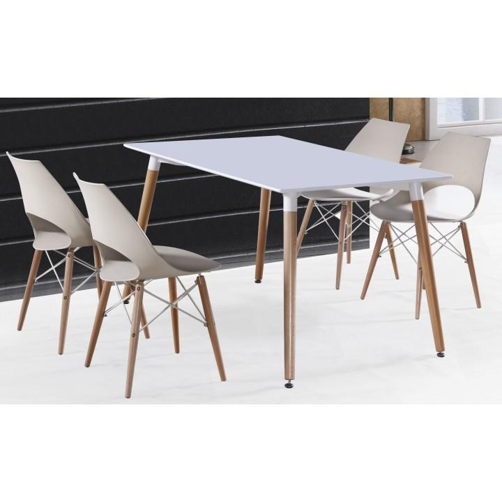 Étkezőasztal, fehér+ bükkfa, DIDIER