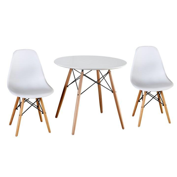 Jedálenský stôl,  biela/buk, GAMIN 80