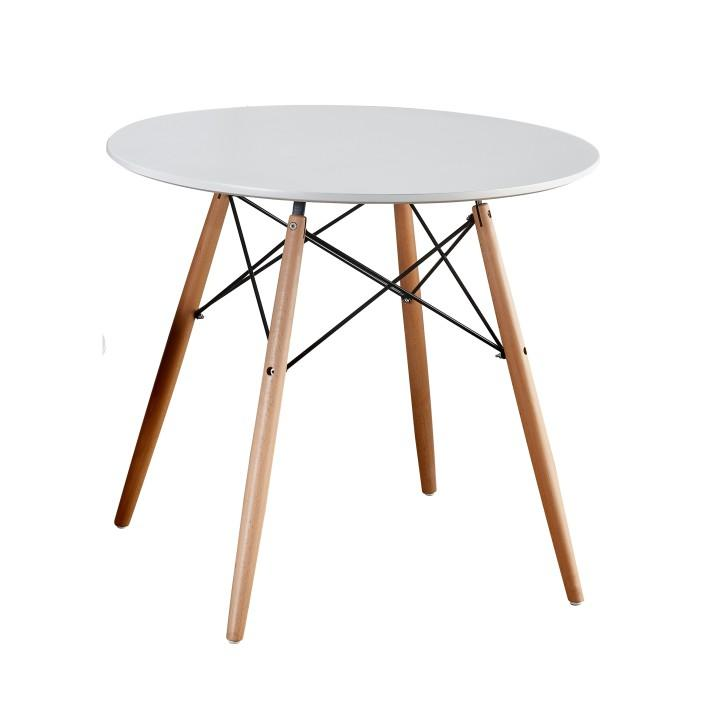 Étkezőasztal, fa lábak + MDF, fehér, GAMIN 90