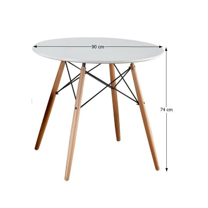 Jedálenský stôl, biela/buk, GAMIN 90