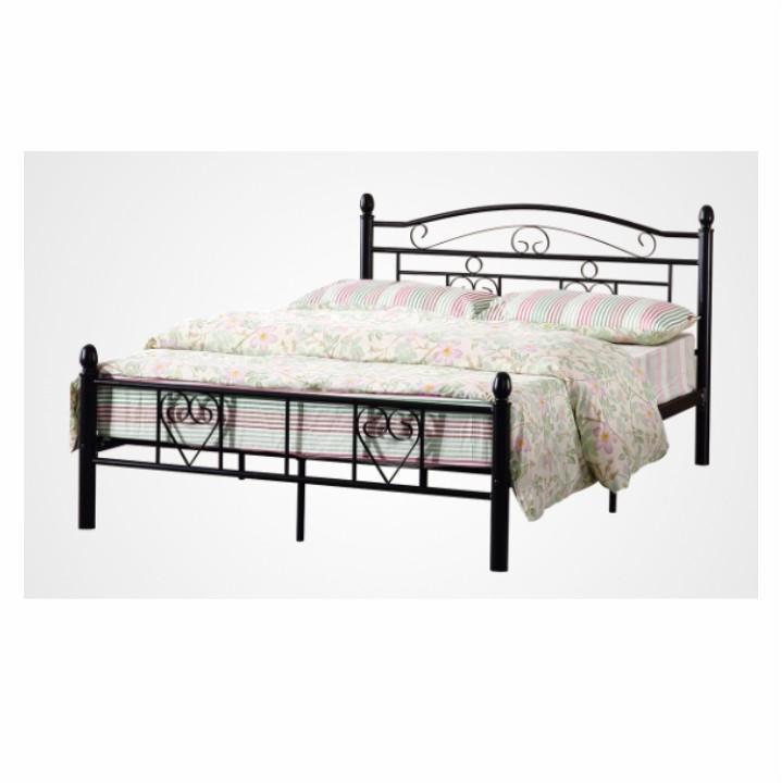 Fém ágy lécezett ráccsal, fém (fekete), 160x200, BRITA