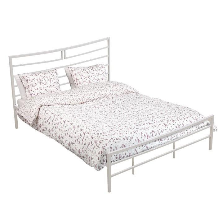 Fém ágy lécezett ráccsal, fém (fehér), 160x200, DALIA