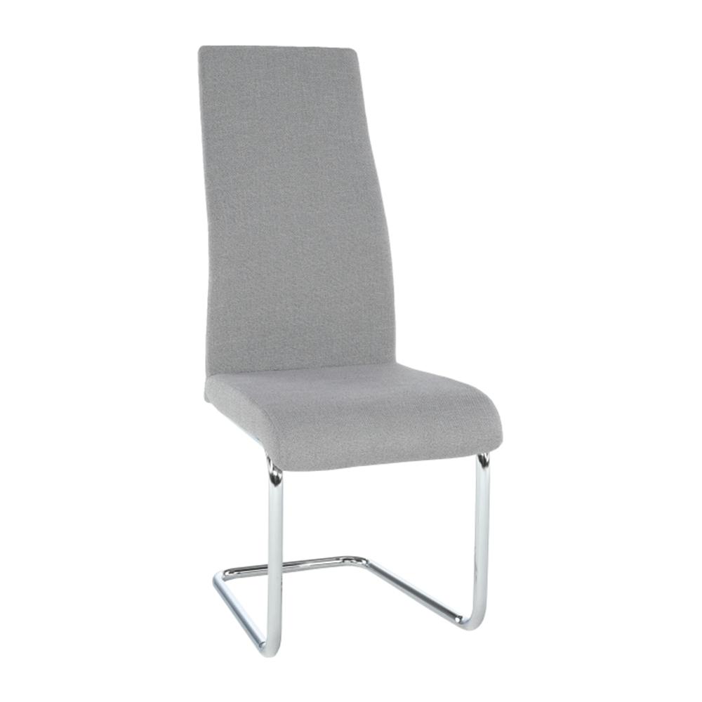 AMINA - Jídelní židle, látka světle šedá / chrom, TEMPO KONDELA