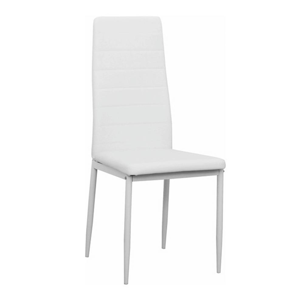 Stolička, biela ekokoža/biely kov, COLETA NOVA