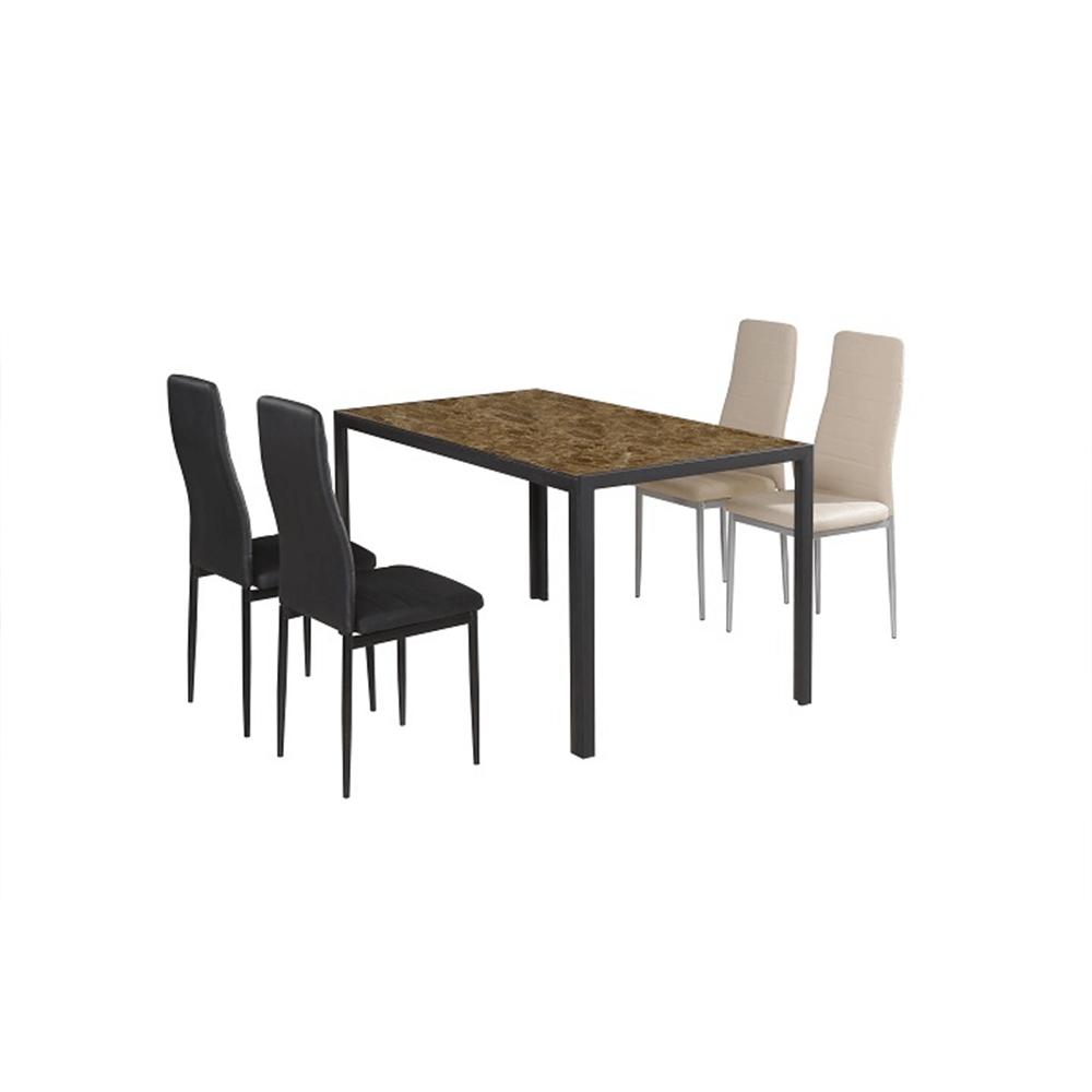 Étkezőszék, fekete textilbőr + fém - fekete, COLETA NOVA