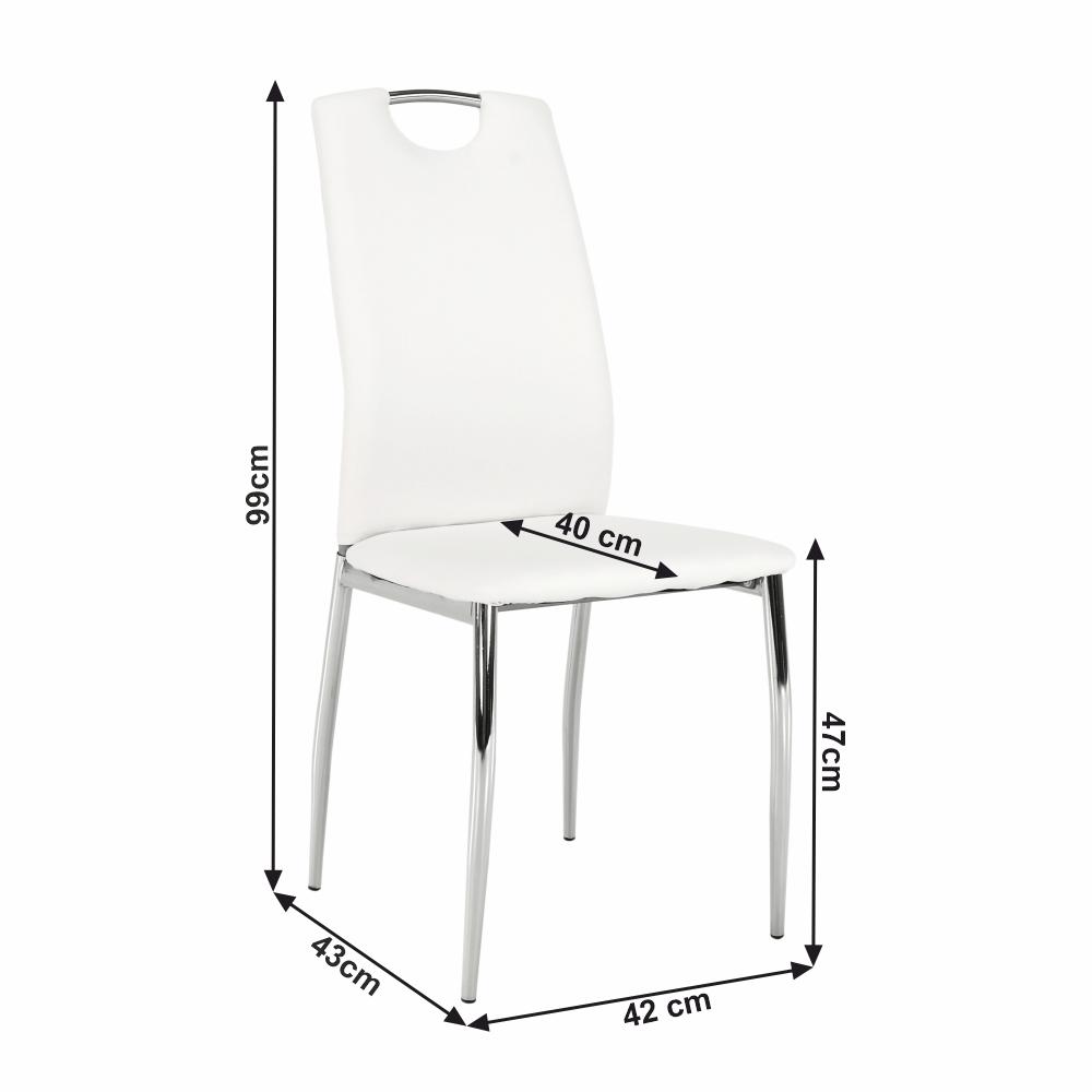 Jídelní židle, ekokůže bílá / chrom, ERVINA, TEMPO KONDELA