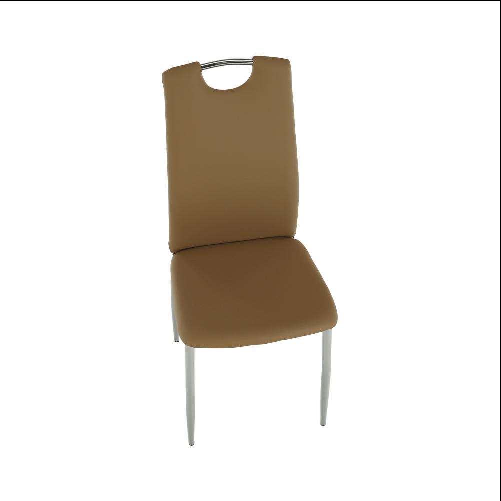 Jídelní židle, ekokůže béžová / chrom, ERVINA, TEMPO KONDELA