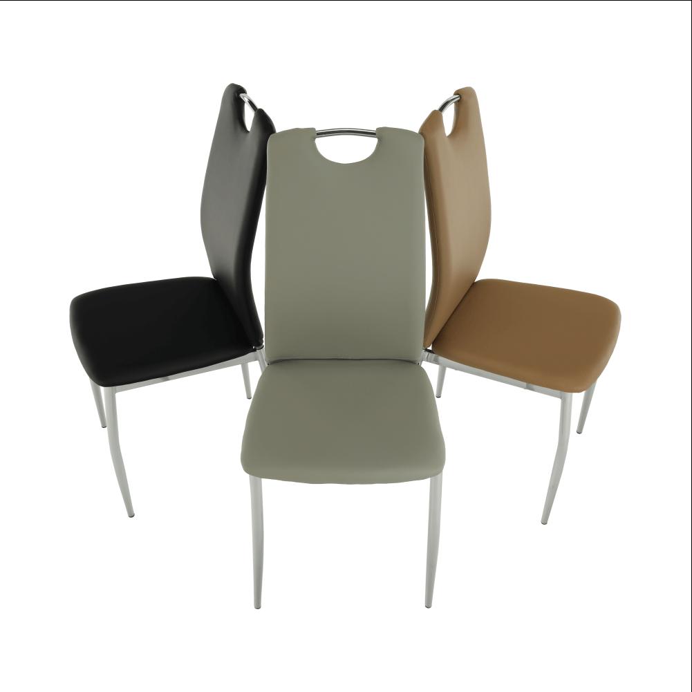 Jídelní židle, ekokůže šedá / chrom, ERVINA, TEMPO KONDELA