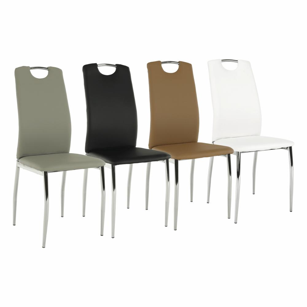 Szék, fekete textilbőr + fém - fehér, ERVINA B-1036