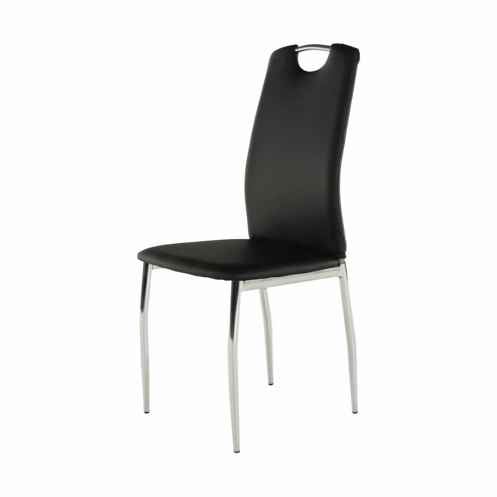 Stolička, ekokoža čierna/chróm, ERVINA