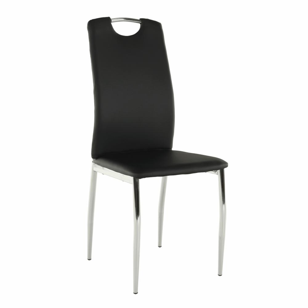 Jídelní židle, ekokůže černá / chrom, ERVINA