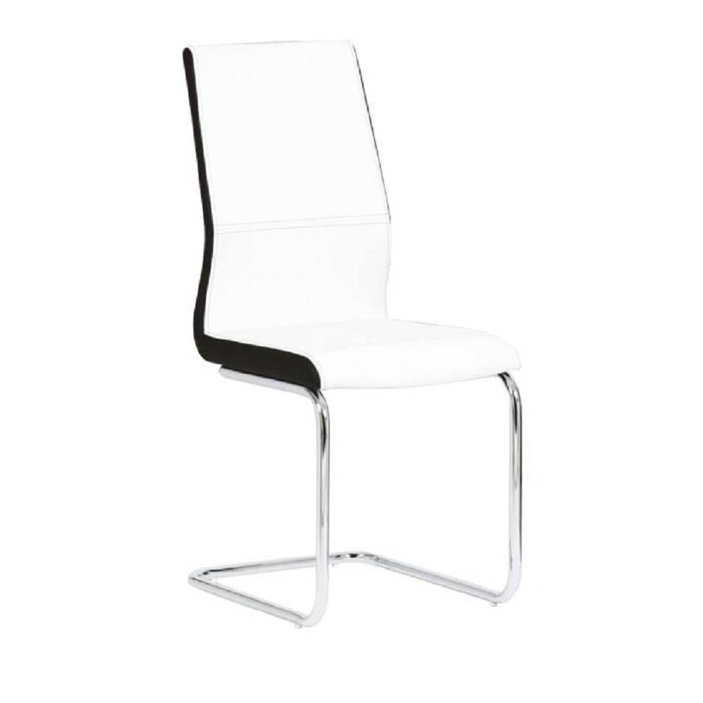 Jedálenská stolička, ekokoža biela, čierna/chróm, NEANA