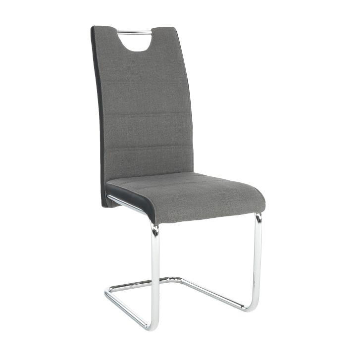 Židle, látka tmavě šedá / ekokůže černá / chrom, Izma