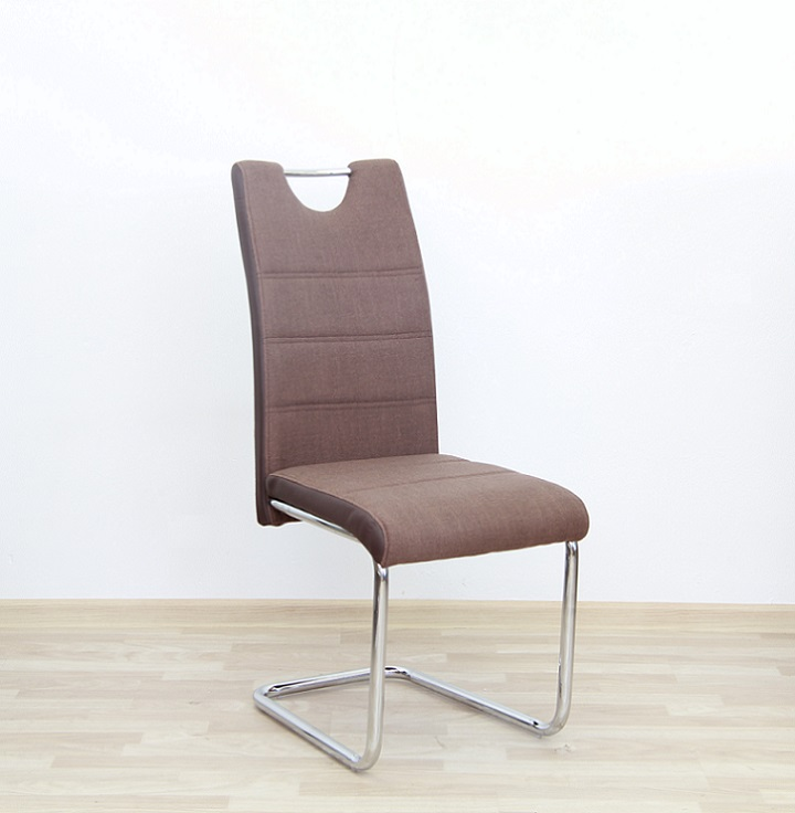 Židle, látka hnědá / ekokůže hnědá / chrom, Izma, TEMPO KONDELA