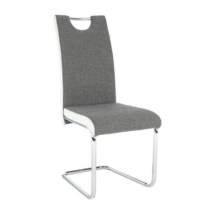 Scaun, material textil gri/piele ecologică albă/crom, IZMA