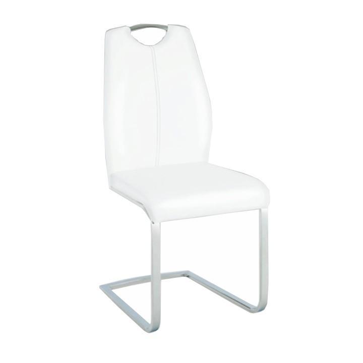 Stolička, ekokoža biela/čierne prešitie, NESTA