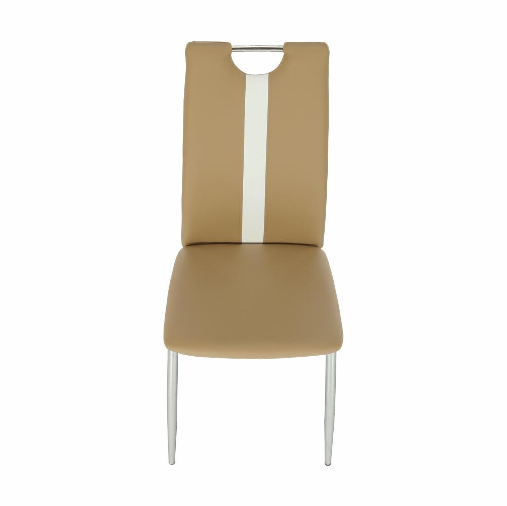 Židle, béžová / bílá ekokůže + chrom nohy, SIGNA, TEMPO KONDELA
