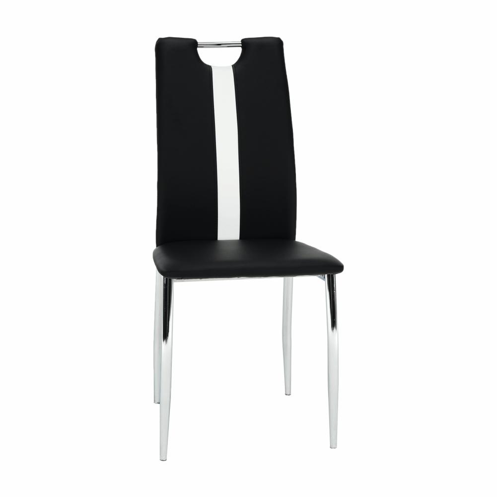 Židle, černá / bílá ekokůže + chrom nohy, SIGNA, TEMPO KONDELA