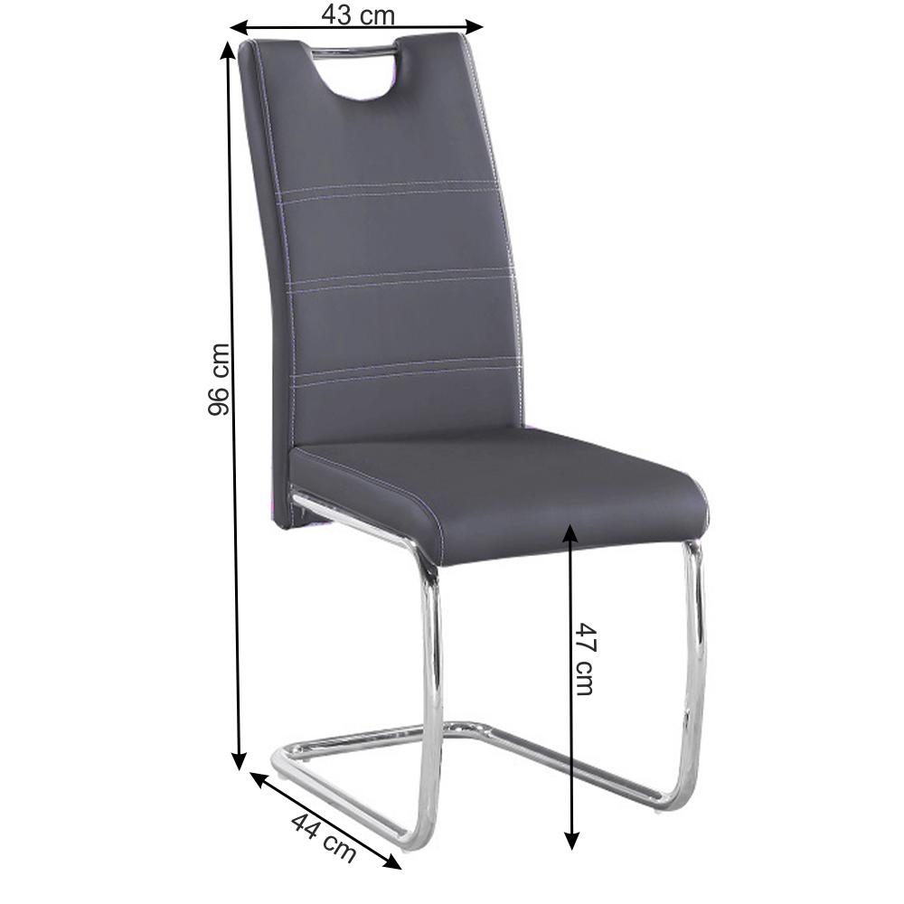 Jedálenská stolička, ekokoža tmavosivá, svetlé šitie/chróm, ABIRA NEW