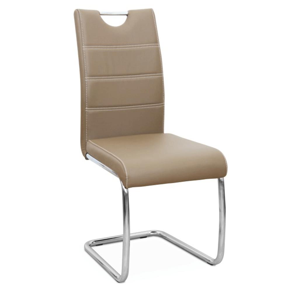 Jídelní židle, ekokůže cappucino, světlé šití / chrom,ABIRA NEW, TEMPO KONDELA