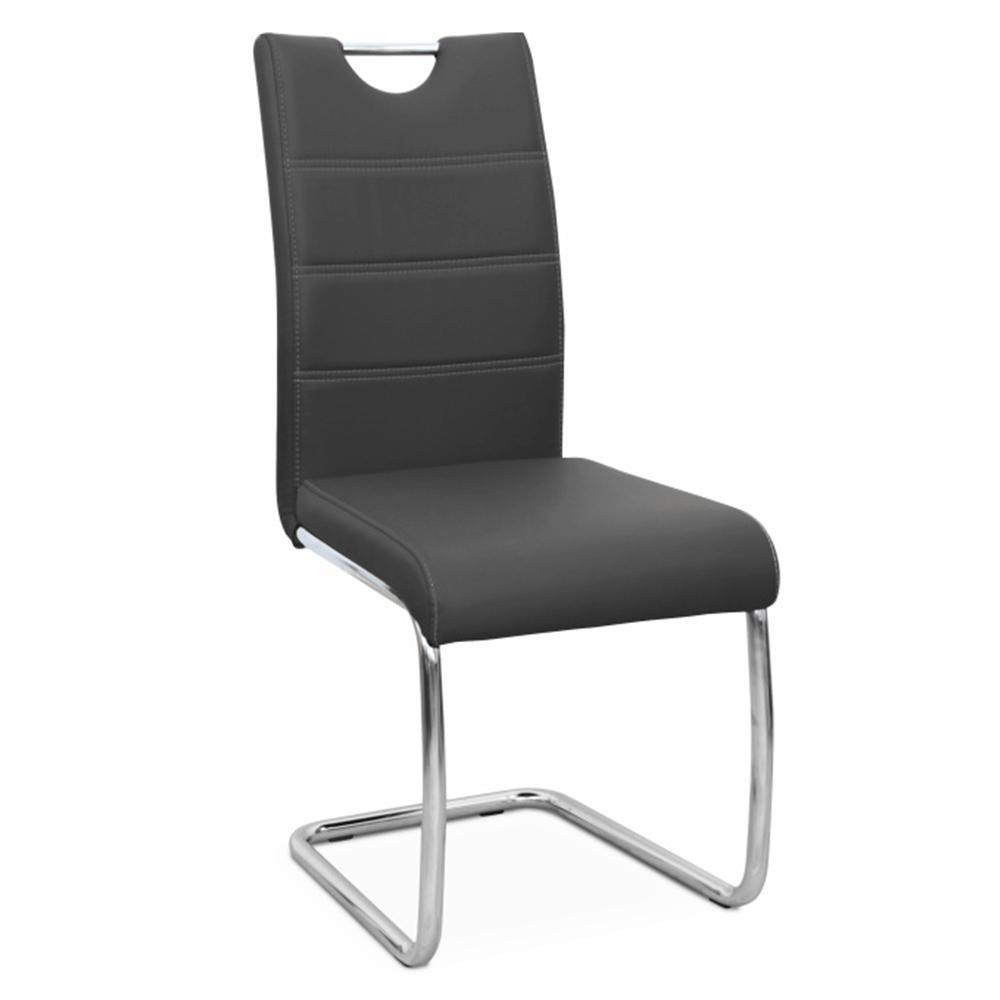 Jedálenská stolička, čierna/svetlé šitie, ABIRA NEW