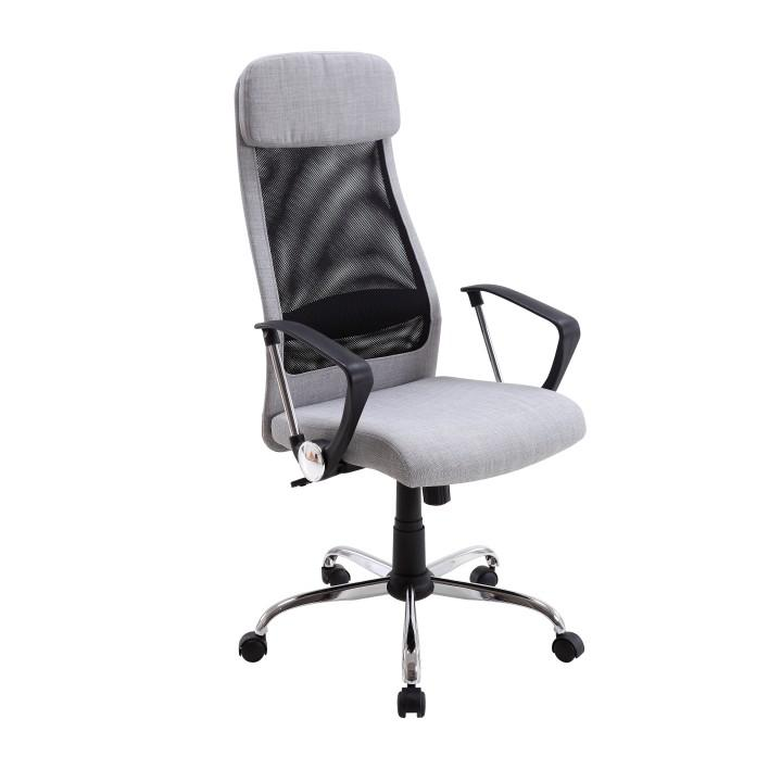 Irodai szék, világosszürke szövet/háló, FABRY