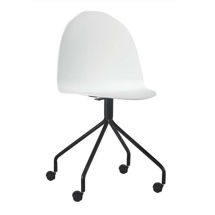 Stolička s kolieskami, plast + kov, biela + čierna, BRUNA
