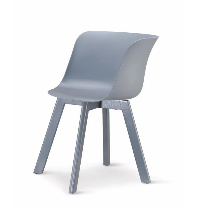 Stolička, plast+drevo buk, sivá+sivá, LEVIN