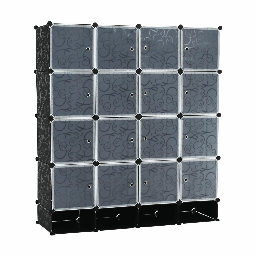 Šatníkový organizér, biela/čierna, RODAN TYP 2 VST64