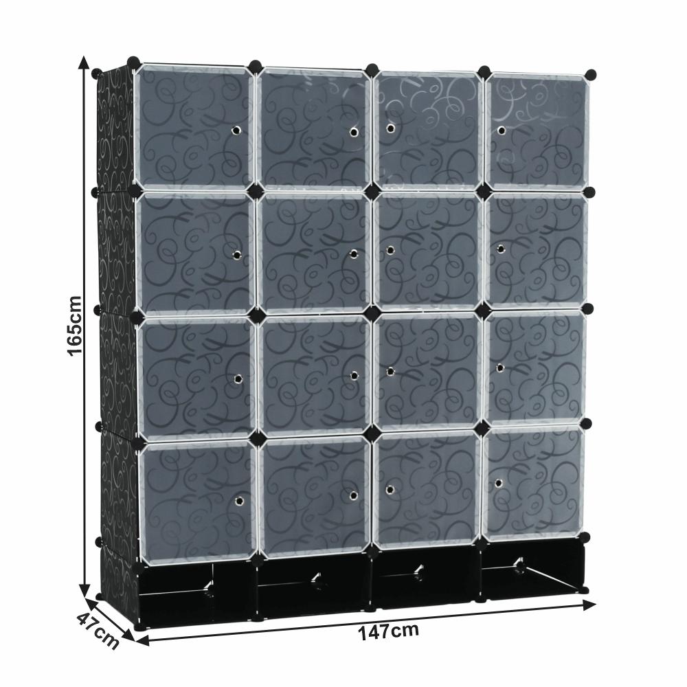 Moduláris szekrény szervező, fekete/tejfehér, RODAN TYP 2