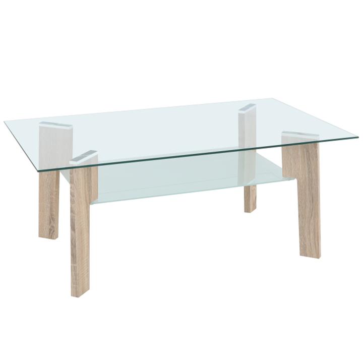 Konferenčný stolík, dub sonoma/sklo číre/mliečne, ADELO