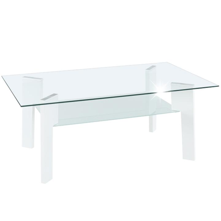 Konferenčný stolík, biela HG/sklo číre/mliečne, ADELO