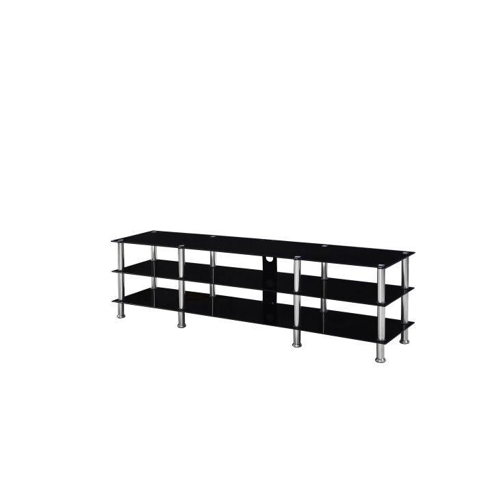 TV asztal, üveg/acél, fekete/acél, ARLO