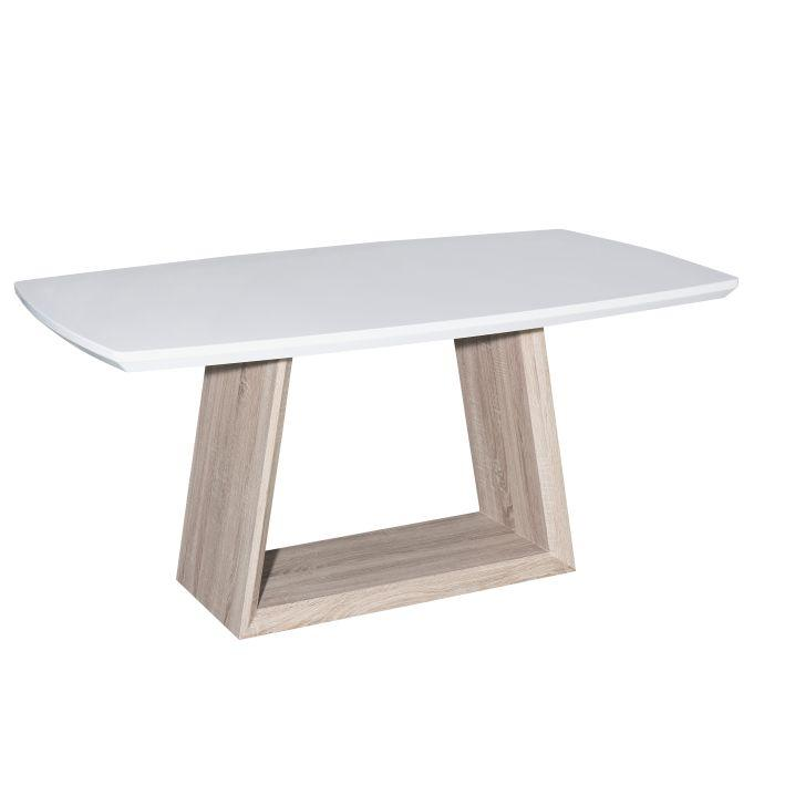 Jedálenský stôl, biela lesk HG/dub sonoma, BARTO