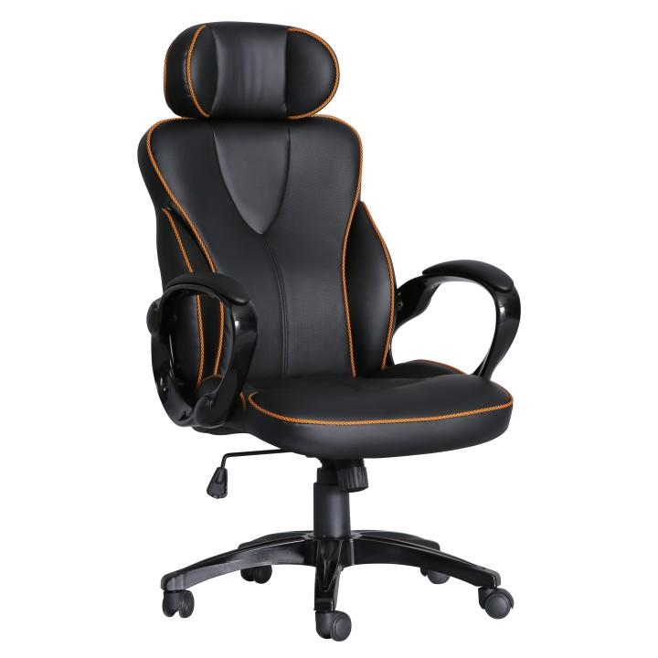 Kancelárske kreslo, ekokoža čierna/oranžový lem, SEDRIK