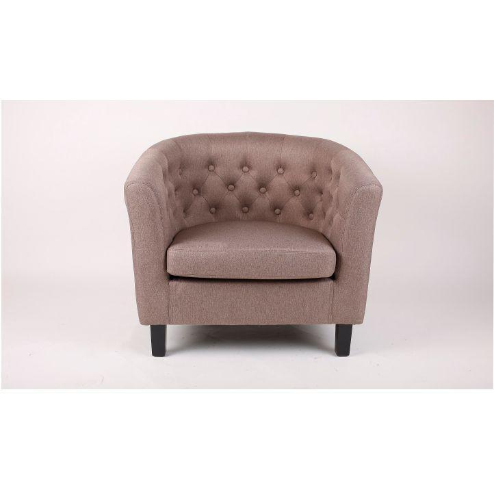 Fotel, barna textil/fekete tömörfa lábak, MARON