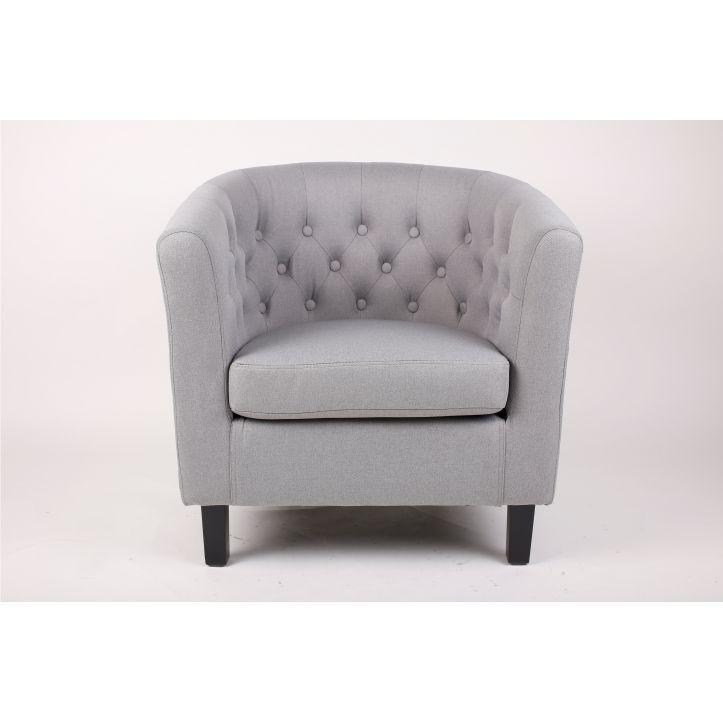 Fotel,szürke textil/fekete tömörfa lábak, MARON