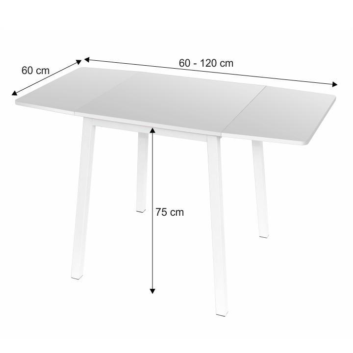 Étkezőasztal, MDF fóliázott/fém,fehér, MAURO