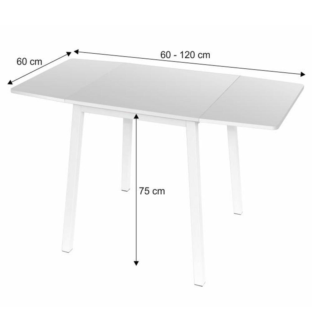 Jídelní stůl, MDF foliovaná / kov, bílá, MAURO